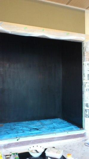 建築現場漆塗り工程すりあげ